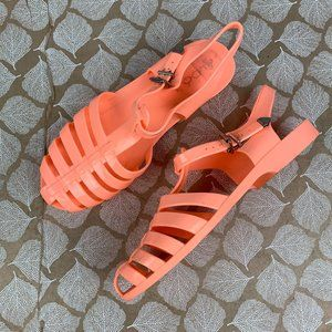 Aldo Size 7.5 Pink Peach Orange Jelly Sandal